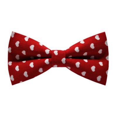 Fehér szíves, piros csokornyakkendő