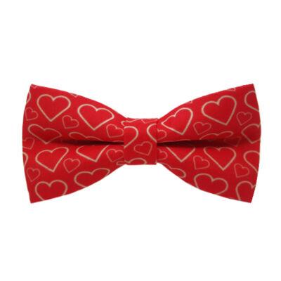 Piros szíves mintás (2) csokornyakkendő